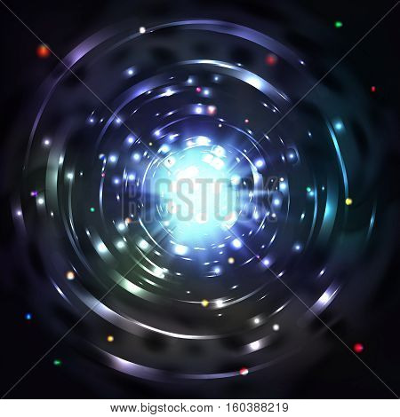 Light tunnel or light whirl vortex vector illustration. Whirl glowing tunnel and motion vortex in cosmic tunnel