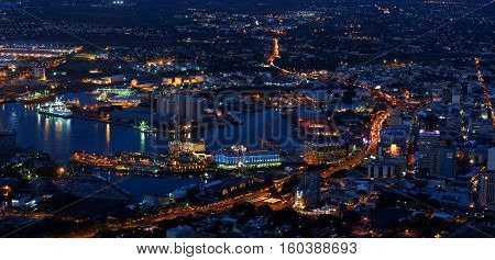 Panoramic urban skyline at night in Port-Louis, Mauritius