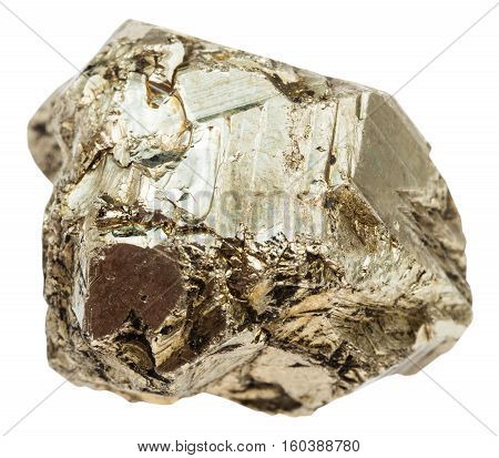 Pebble Of Pyrite Stone Isolated