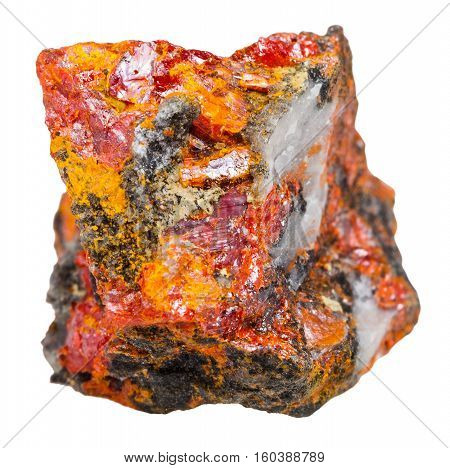 Stone With Crystals Of Realgar Isolated