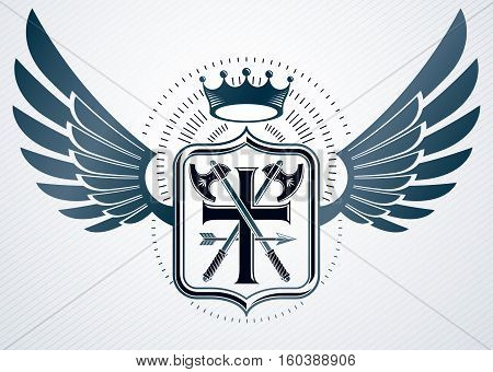Vintage Decorative Heraldic Vector Emblem Composed With Eagle Wings, Hatchets And Monarch Crown