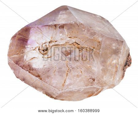 Quartz Crystal With Amethyst Isolated