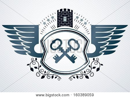 Vintage Heraldry Design Template, Vector Emblem Created Using Eagle Wings, Keys And Medieval Fortres