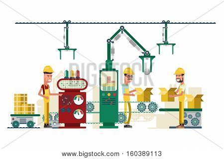 Vector factory production conveyor belt with working staff. Illustration of industry technology equipment