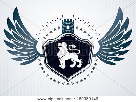 Vintage Heraldry Design Template, Vector Emblem Created Using Eagle Wings, Wild Lion Illustration An