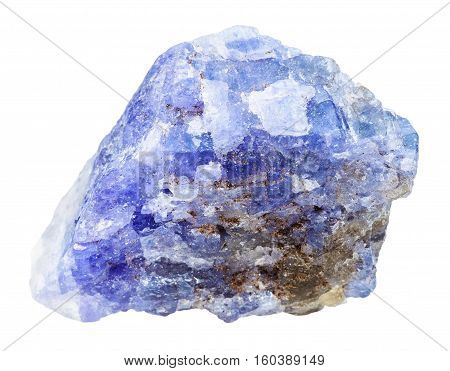 Tanzanite (blue Violet Zoisite) Rock Isolated