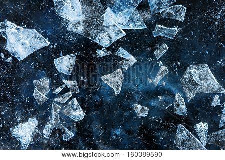 Textured ice debris blue cold frozen crash winter background