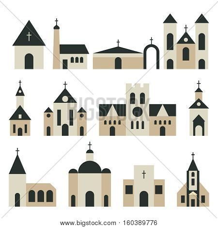 Christian church with basilica and tower vector set. Religion building architecture illustration