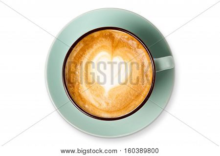 Cappuccino with frothy foam heart shape, blue coffee cup top view closeup isolated on white background. Cafe and bar, barista art concept.
