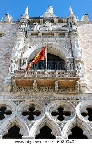 Decoration Of Facade Of Doge's Palace In Venice