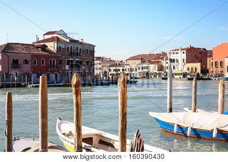 Murano Museo Vaporetto Water Bus Stop In Venice
