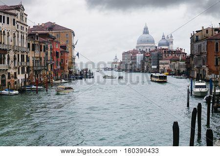 Grand Canal In Venice City In Rain