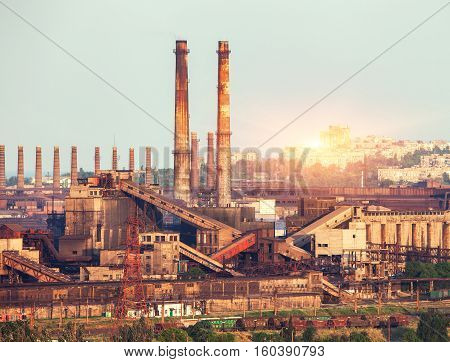 Metallurgical Plant At Colorful Sunset. Industrial Landscape. Steel Factory