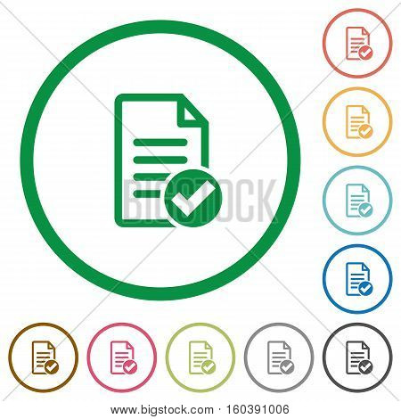 Document done flat color icons in round outlines