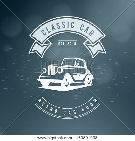 Classic Car Logo, Emblem, Badge. Service Car Repair, Racing Emblem And Car Club Design Elements. Vec