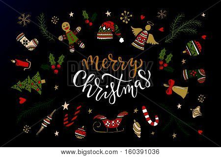 Hand sketched Merry Christmas logotype badge/icon typography with christmas attributes. Lettering 'Merry Christmas' for Christmas/New Year greeting card invitation template. New 2017 Year Christmas banner poster