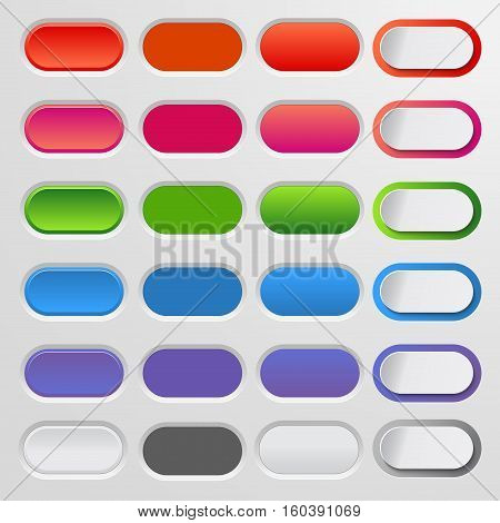 Set of colored web buttons. Colorful collection of vector buttons for your website and web design