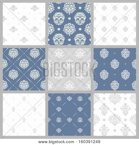 Victorian pattern, white baroque wallpaper. Set of background in baroque style, wrapping decoration baroque design. Vector illustration
