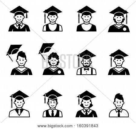 University students graduation avatar. Girl and boy graduation cap and gown. School people icons. Graduation people icons uniform throwing caps vector. People icons in black and white.