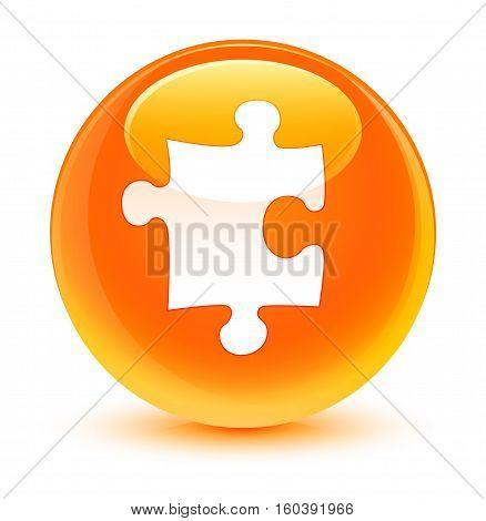 Puzzle Icon Glassy Orange Round Button