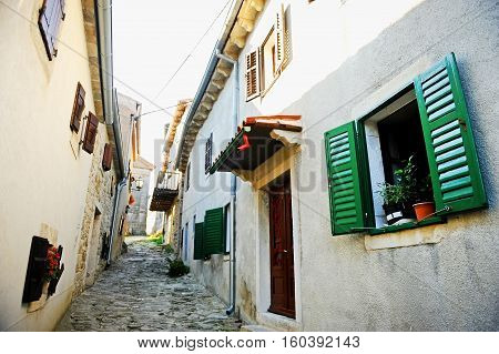 Street view in the city of Hum known as the smallest city in the world in Croatia.