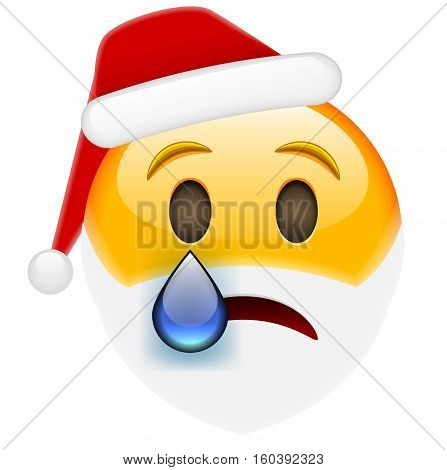 Crying Santa Smile Emoticon With Tear For Christmas And New Year