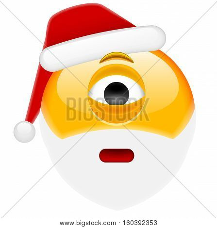 Worried Cyclop Santa Smile Emoticon For Christmas And New Year