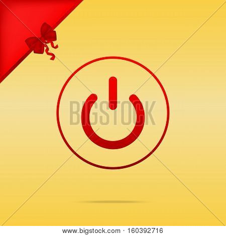 On Off Switch Sign. Cristmas Design Red Icon On Gold Background.