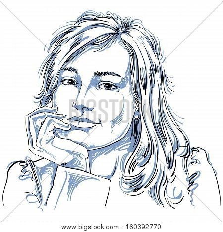 Vector Art Drawing Of Pensive Romantic Woman With Stylish Haircut. Black And White Portrait Of Attra