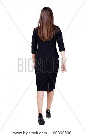 walking business woman. back view. going young girl in  suit. Rear view people collection.  back side view of person.  Isolated over white background. poster
