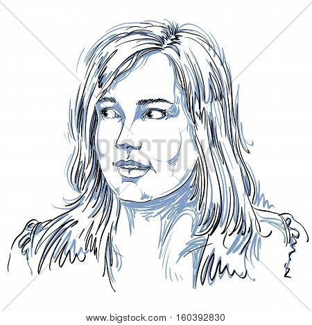 Vector Portrait Of Attractive Woman, Illustration Of Good-looking Curious Female. Person Emotional F