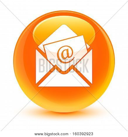 Newsletter Email Icon Glassy Orange Round Button
