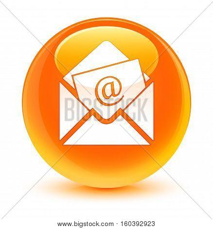 Newsletter Email Icon Glassy Orange Round Button