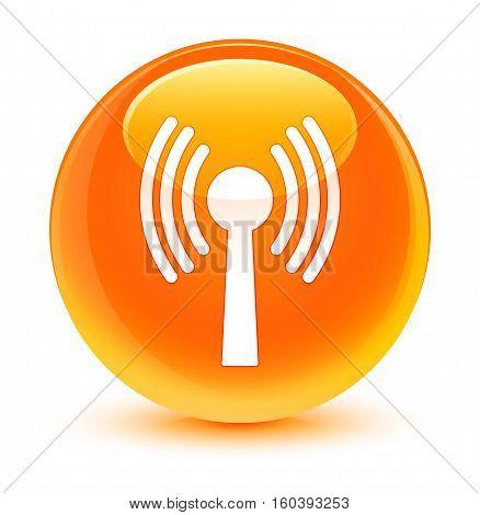 Wlan Network Icon Glassy Orange Round Button