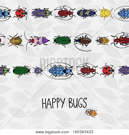 Seamless Border With Colorful Bugs.