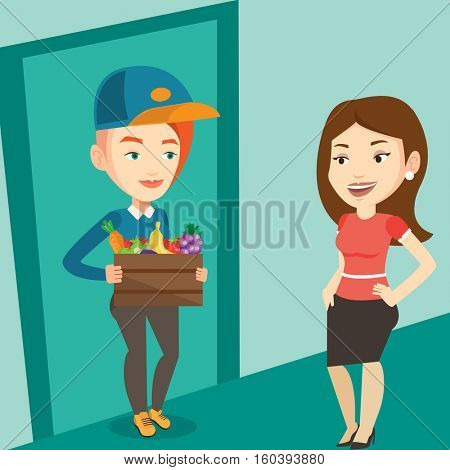 Delivery courier delivering online grocery shopping order. Girl receiving groceries from delivery courier at home. Girl delivering groceries to customer. Vector flat design illustration. Square layout