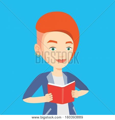 Smiling student reading a book. Cheerful female student reading a book and preparing for exam. Student holding a book in hands. Concept of education. Vector flat design illustration. Square layout.