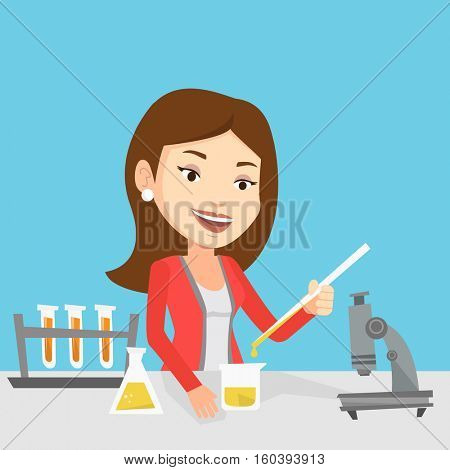 Caucasian female student carrying out laboratory experiment. Student working with microscope at laboratory class. Student experimenting in laboratory. Vector flat design illustration. Square layout.