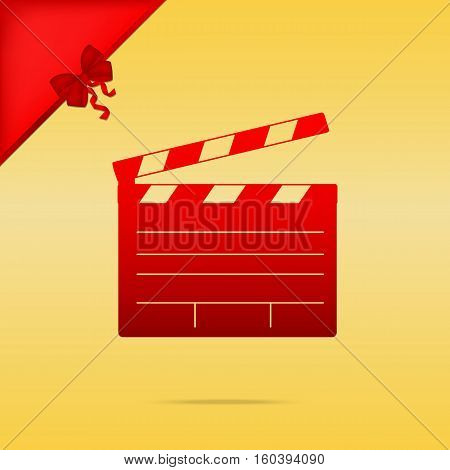 Film Clap Board Cinema Sign. Cristmas Design Red Icon On Gold Ba