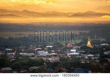 Aerial view landscape of Nan city from Wat Phra That Khao Noi temple is located on the top of Khao Noi hill in Nan, Thailand