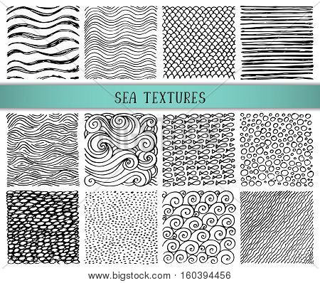 Set of twelve hand drawn ink abstract textures. Vector backgrounds of simple primitive scratchy sea patterns, waves, scales, sand, pebbles, fish, ripple