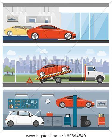 Car dealership roadside assistance and auto repair shop banners set