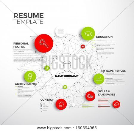 Vector original minimalist cv / resume template - creative profile red and green version