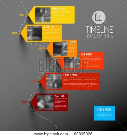 Vector colorful Infographic typographic timeline report template with the biggest milestones, photos, years and description - vertical dark version