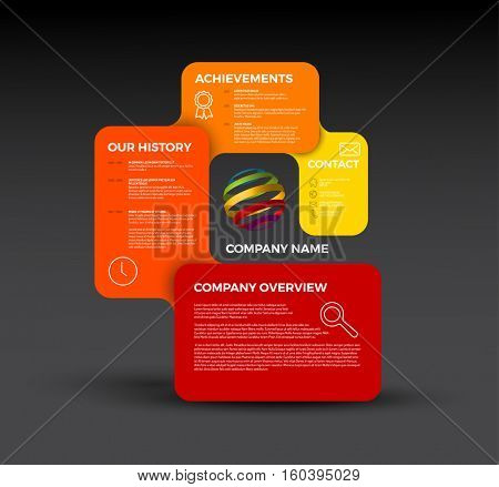 Vector Company infographic overview design template with rectangular labels - red version