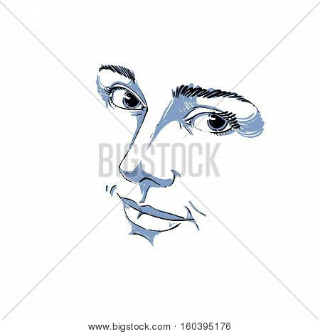Hand-drawn Monochrome Portrait Of Delicate Good-looking Dreamy Still Woman, Black And White Vector D