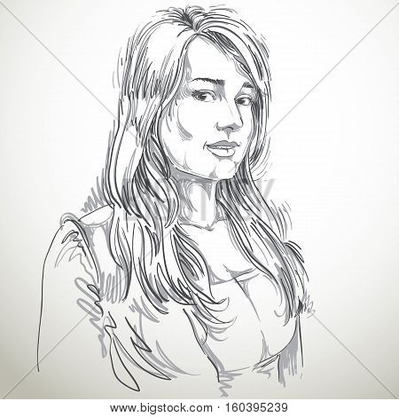 Hand-drawn Vector Illustration Of Beautiful Romantic Woman. Monochrome Image, Expressions On Face Of