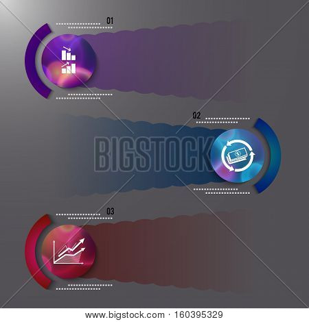 Modern Design style infographic template. Illustration of different kinds of banking. Can be used for infographics and typography chart process the bank business service steps options
