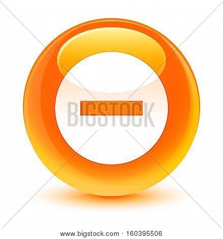 Cancel Icon Glassy Orange Round Button