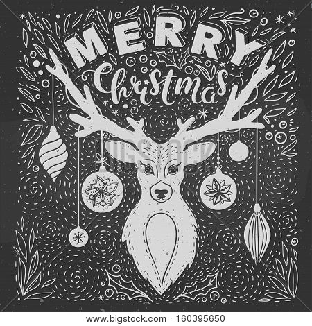 Christmas greeting card with deer. Vector greeting card with hand drawn deer , lettering and floral elements. Merry Christmas card on a Chalkboard.
